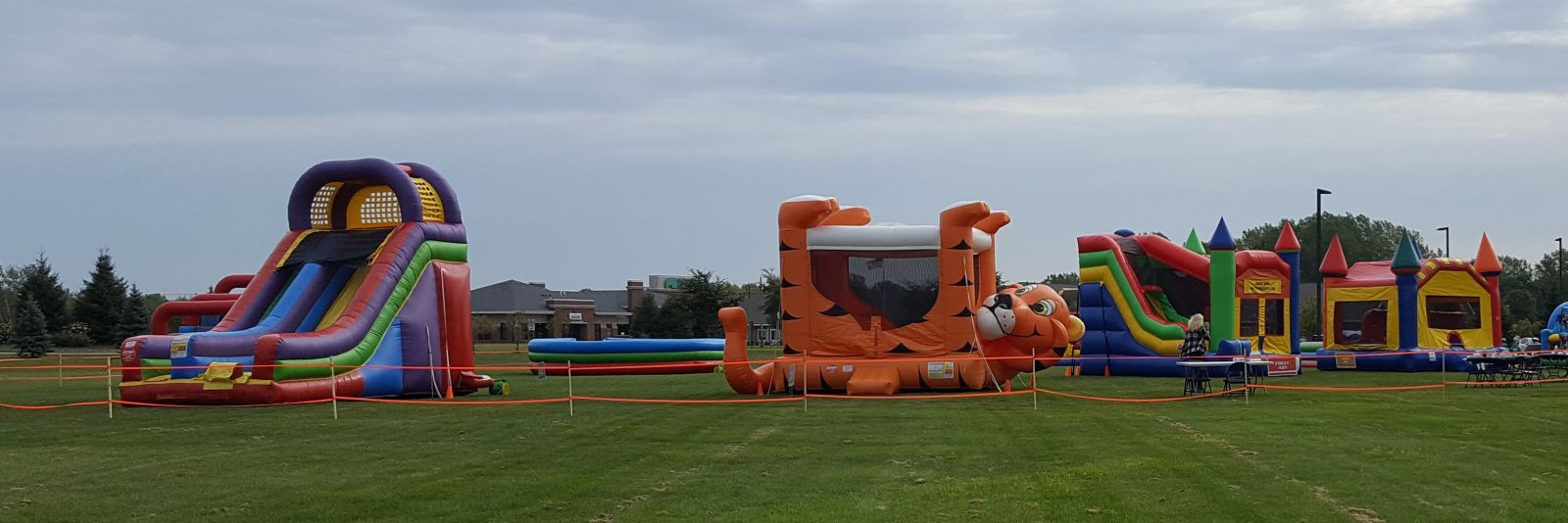 GIANT Slide Rental with other bounce houses