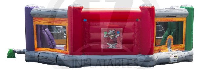 Sideview of the Hippo Tug and Dunk inflatable
