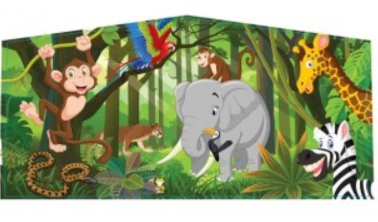 Front of Jungle Bounce House has monkeys, elephants, zebras, and more!
