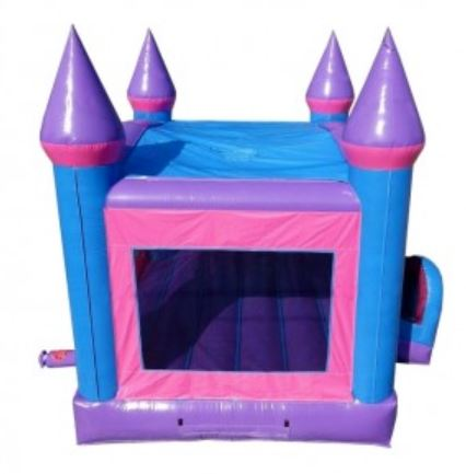 The pink and purple bounce house rental offers large side windows with finger-safe mesh netting.