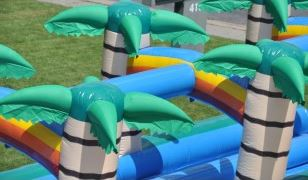 Palm Trees and Stays-Wet Sprinkling System on inflatable Water Slip-n-Slide