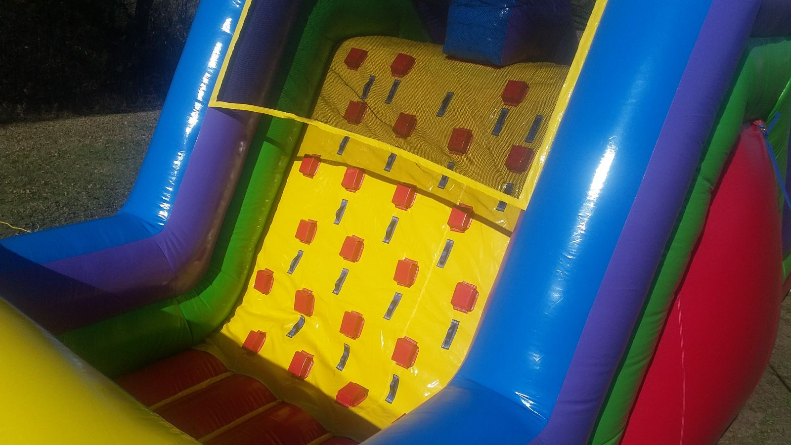 Rock-Wall climbing for 15 foot tall slide on inflatable obstacle course