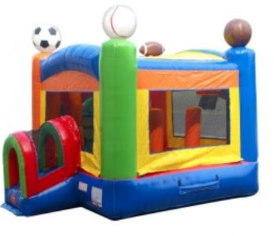 Baseball, basketball, soccer, and football bounce house