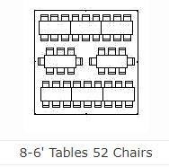 Table lay-out for 8 - 6' tables and 52 chairs
