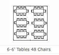 Table layout for 6 - 6' tables and 48 chairs