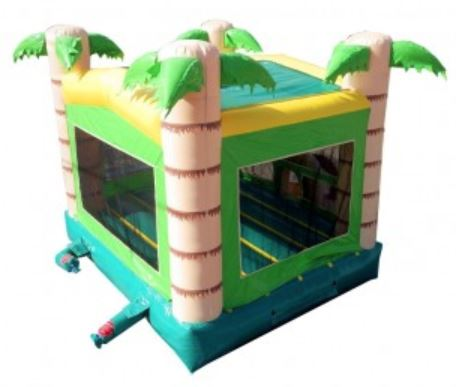 Tropical Bounce House windows with safety netting