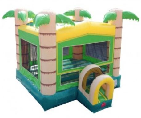 Tropical bounce house rental with palm trees