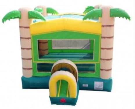 Tropical Bounce House with inflatable tunnel for entry and exit