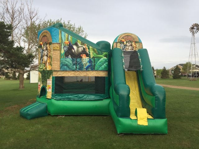 Zoo Combo bounce house rental animal themed with slide