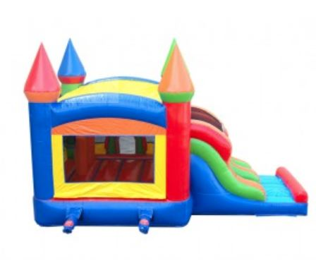 Bounce house with open window for great viewing.  Two-lane slides attached.