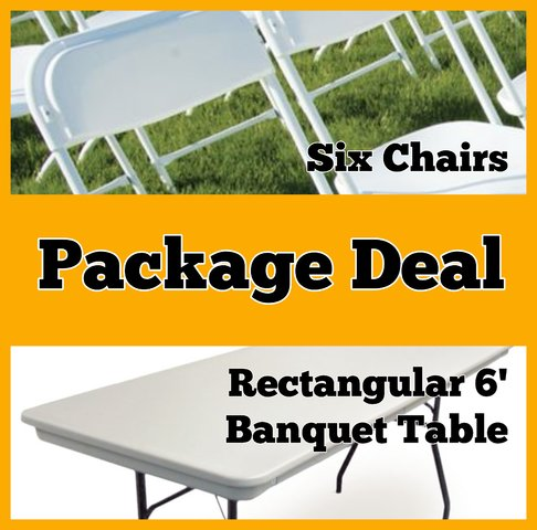 Package Deal:  Rectangular Table and Six Chairs