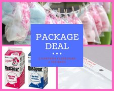 PACKAGE: Cotton Candy Flossugar (two cartons) & 100 Cotton Candy Bags -  PINK & BLUE (I saved $6!)