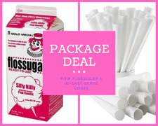 PACKAGE - Cotton Candy Flossugar and 60 Cones - PINK