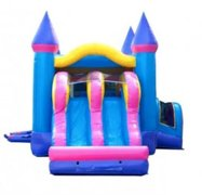Pink Dual-Lane Bounce House with Slide Combo