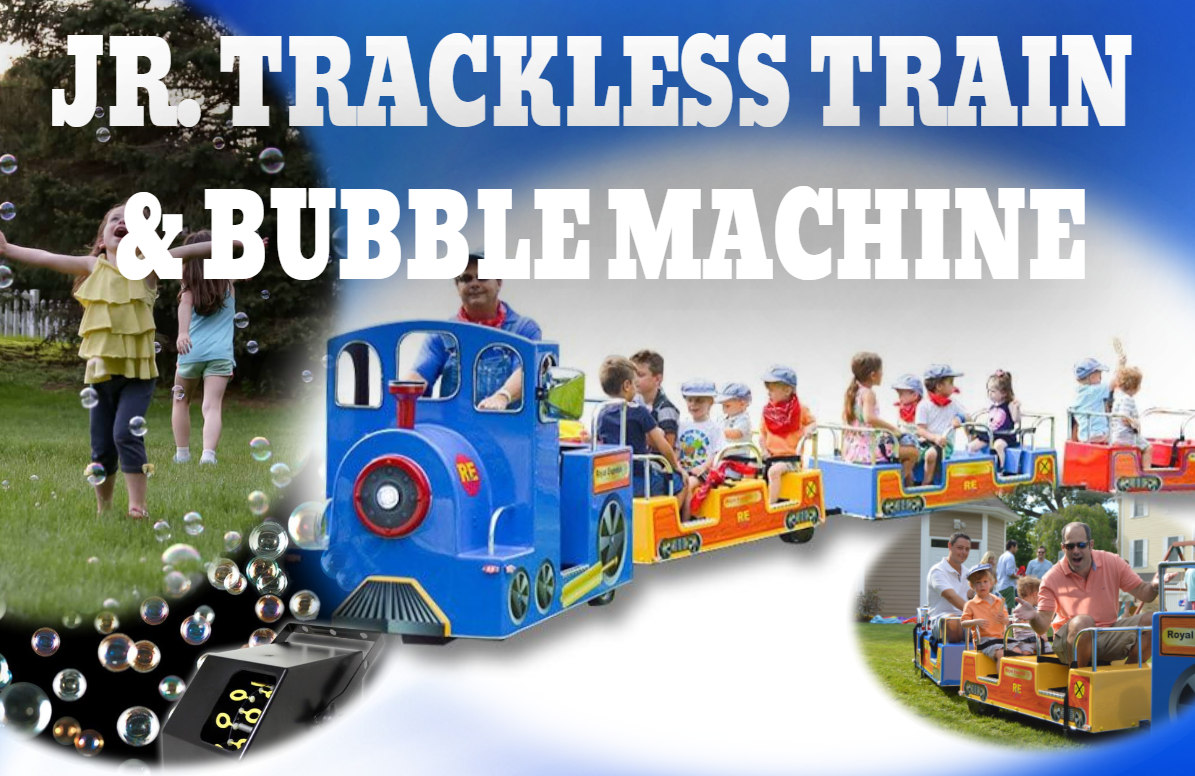 Jr. Royal Express trackless train and bubble machine rental package deal Rockford IL