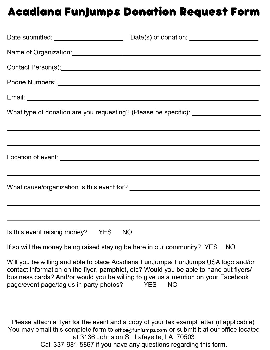 Acadiana FunJumps Donation Request Form