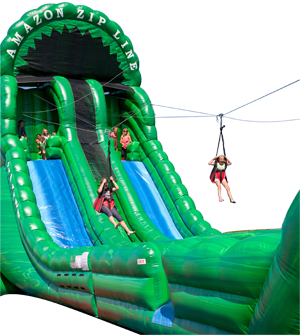 Ride down the Inflatable Zipline Falls
