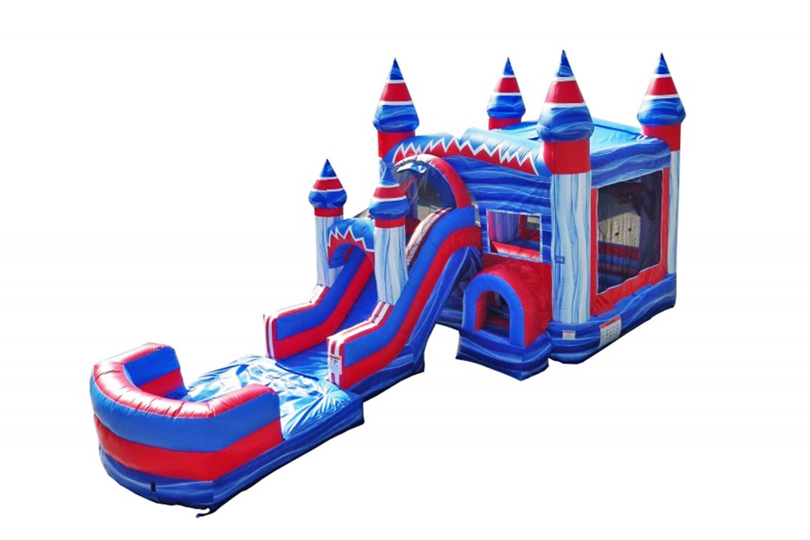 Inflatable bounce castle with water slide