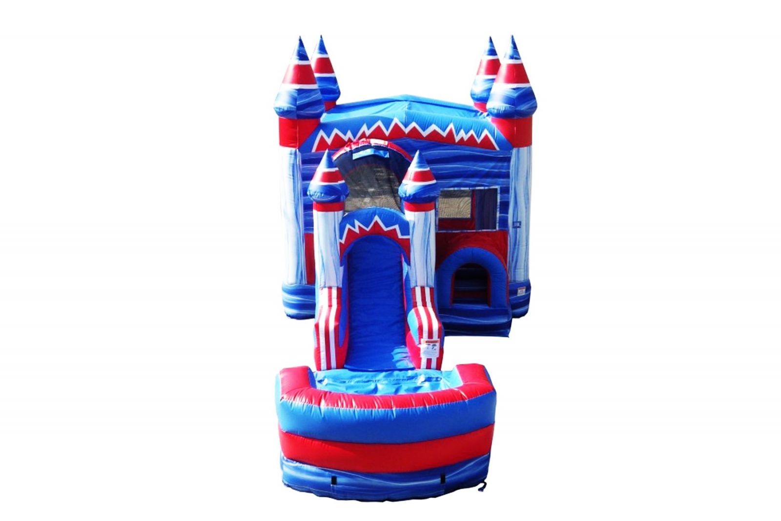 Front slide view bounce house combo with water slide