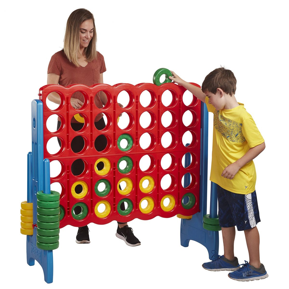 Jumbo Connect Four in a Row Game Being Played By Mother and Child