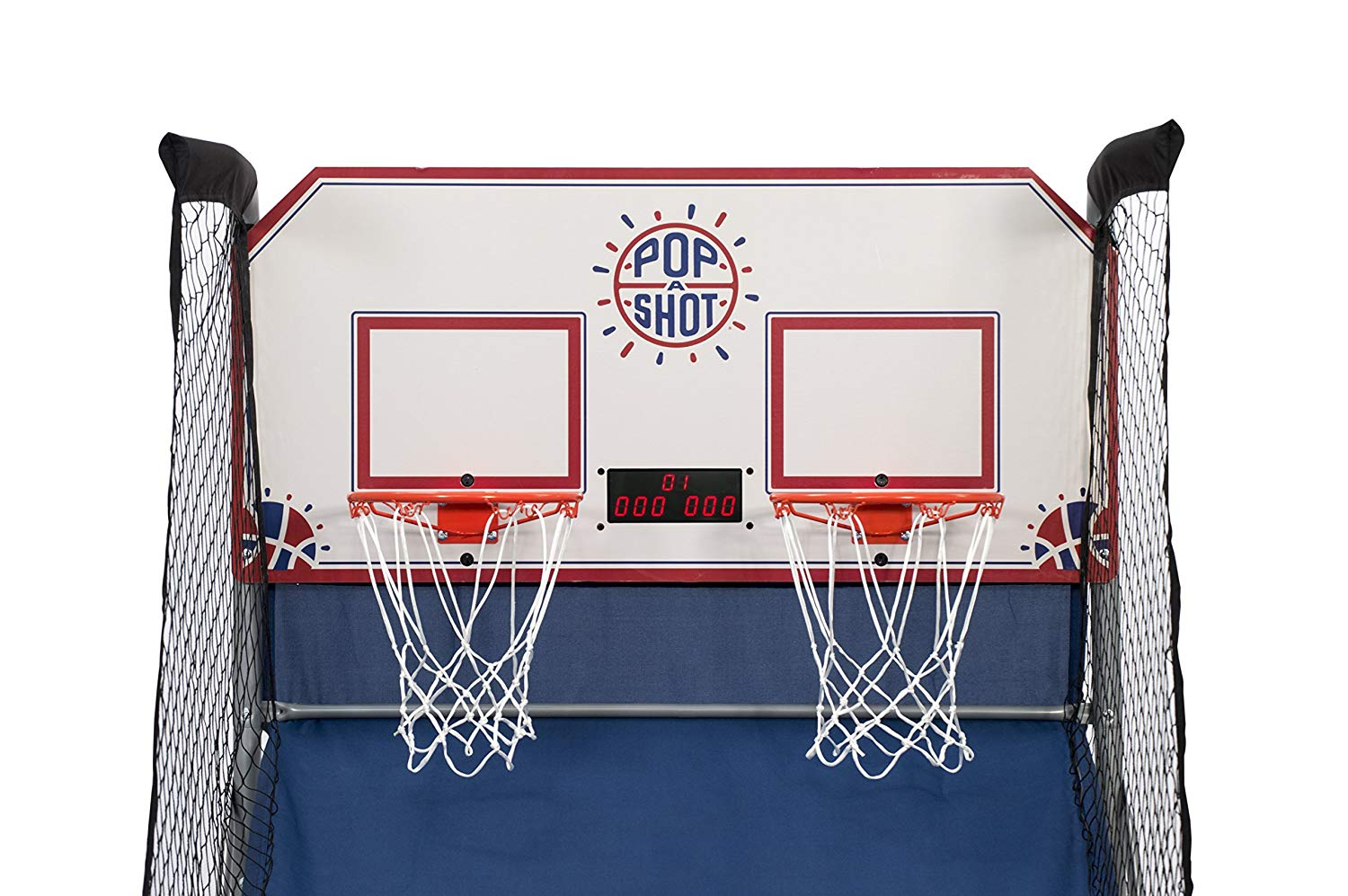 Arcade basketball game with two hoops