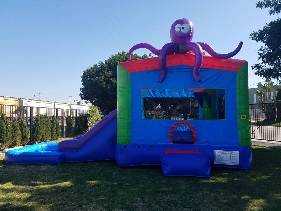 Bounce house water slide combo with inflatable octopus on top