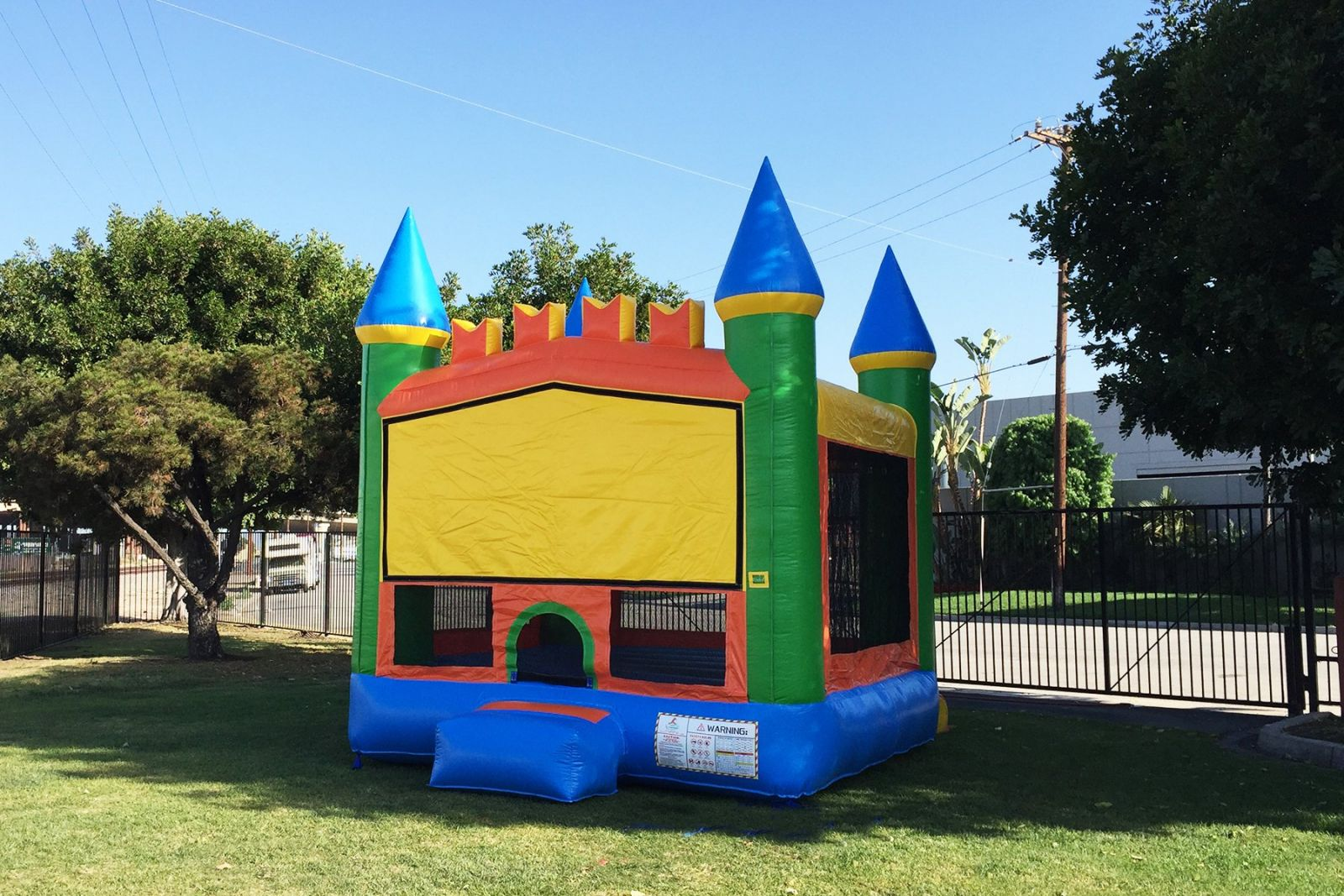 Colorful bounce house on a sunny day