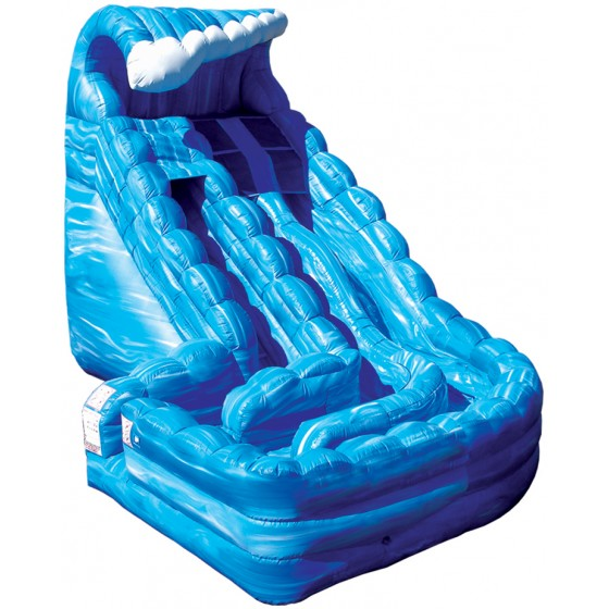 Blue wave inflatable water slide