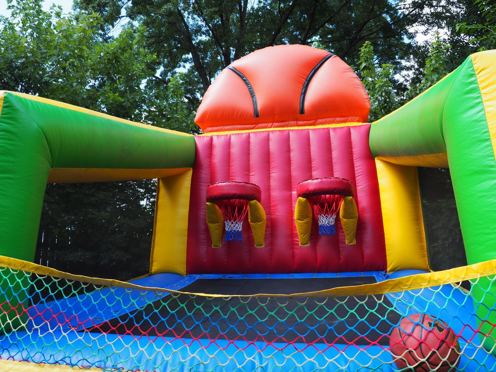 Close up view of inflated basketball hoop challenge game.