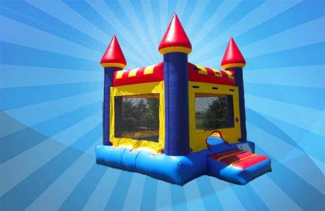 Bounce castle against blue background.