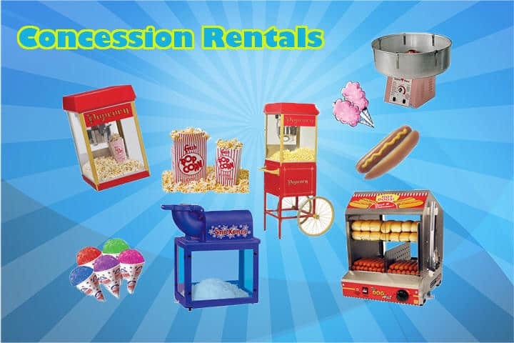 Cotton candy, popcorn, hotdog, snow cone machines against blue background.