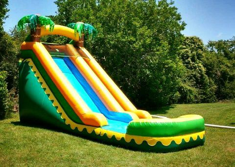 Inflatable water slide rental on a sunny day.