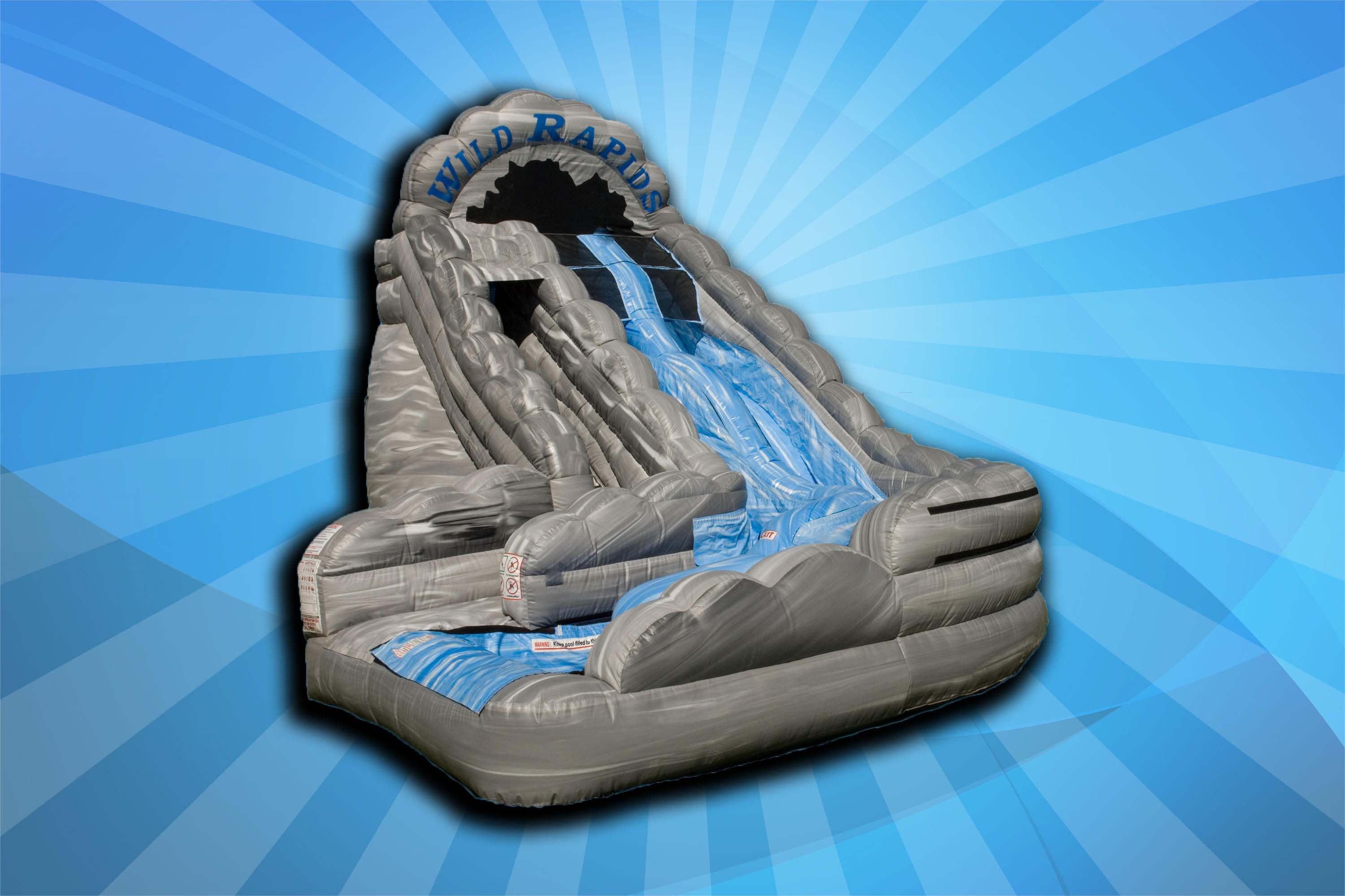 Inflatable water slide against blue background.