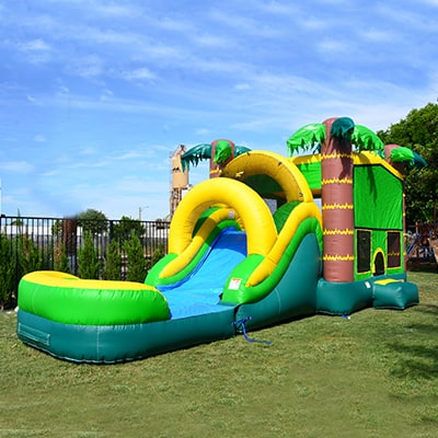Tropical theme bounce house with water slide