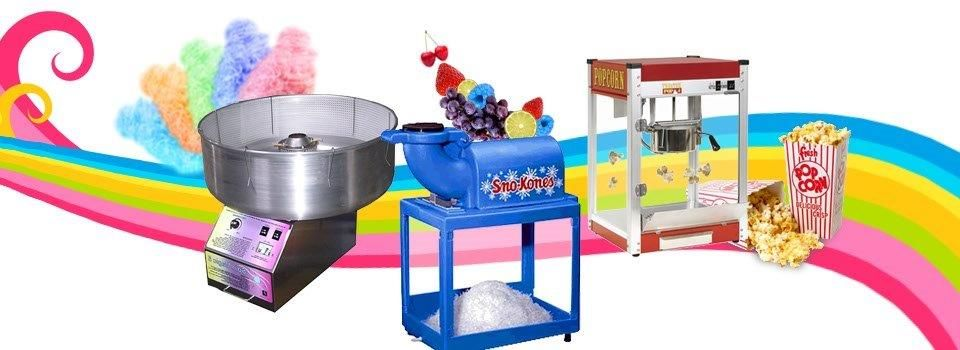 Cotton candy, margarita machine and snow cone machines from gator jump