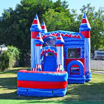 red white and blue combo bounce house