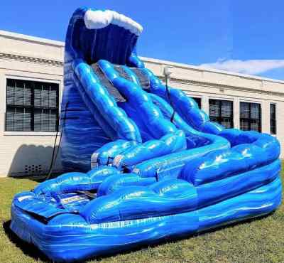 Inflatable water slide on a sunny day.