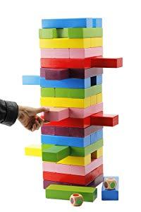 Oversized stacking block game being played.