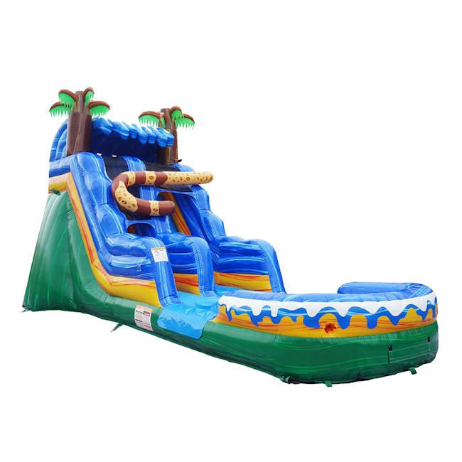 inflated water slide blue green