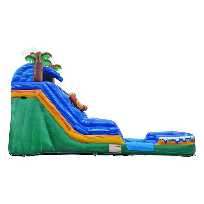 Side view of cat themed inflatable water slide