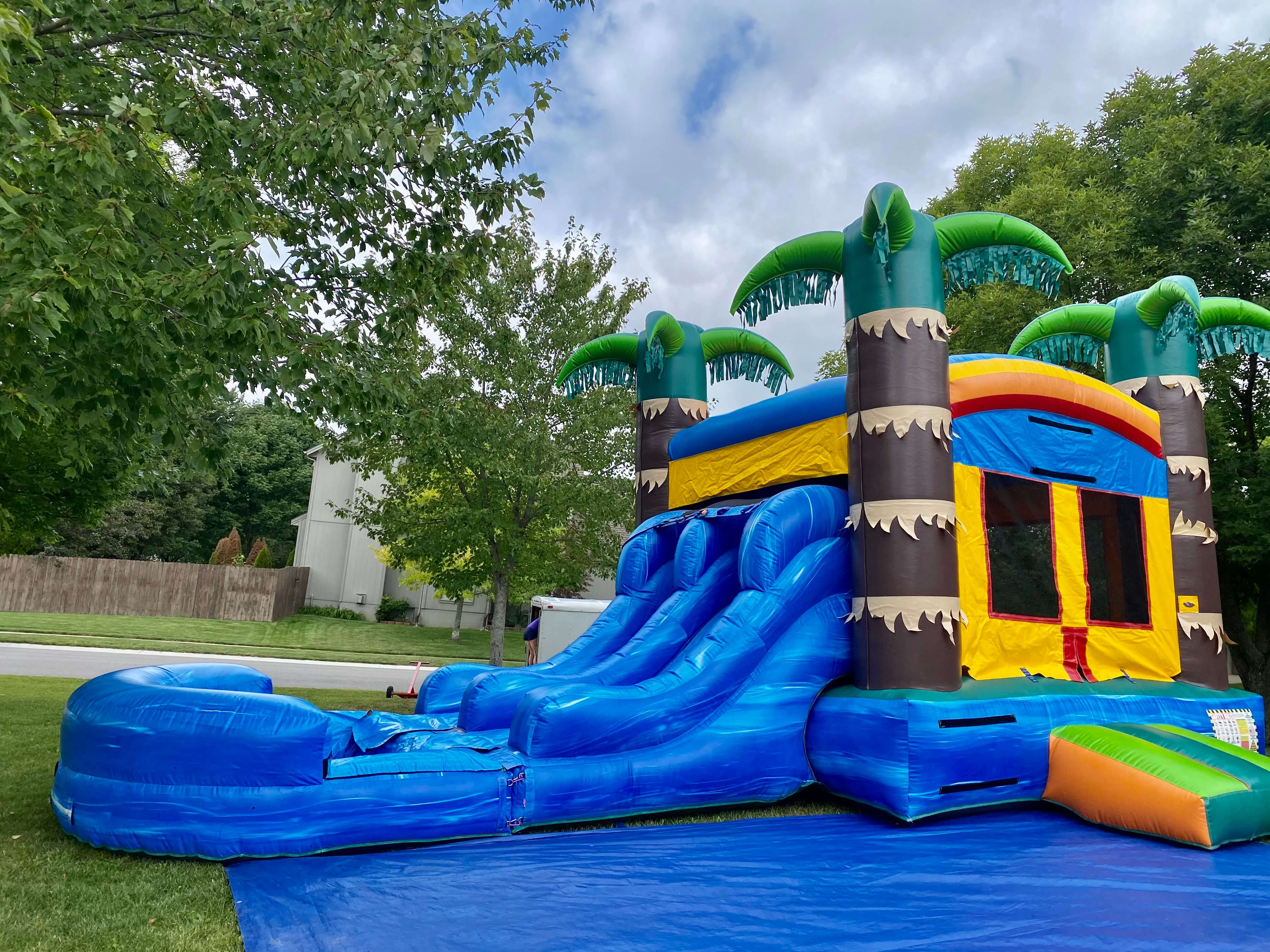 tropical inflatable bounce house combo