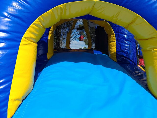 Entrance to Red, Yellow & Blue Bounce House Slide Combo