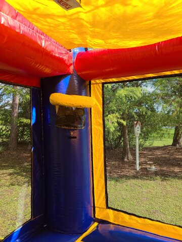 Basketball hoop in bounce house