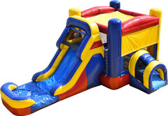 Red Yellow & Blue Bounce House With Slide