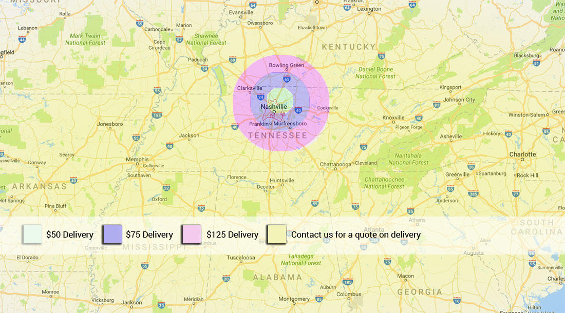 Delivery Fee Area Map