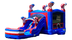 American Boxing Combo Includes: Dual Lane Slide, Basketball Hoop, & Obstacle Pop-Ups