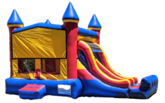Happy Castle Combo Includes: Dual Lane Slide & Basketball Hoop