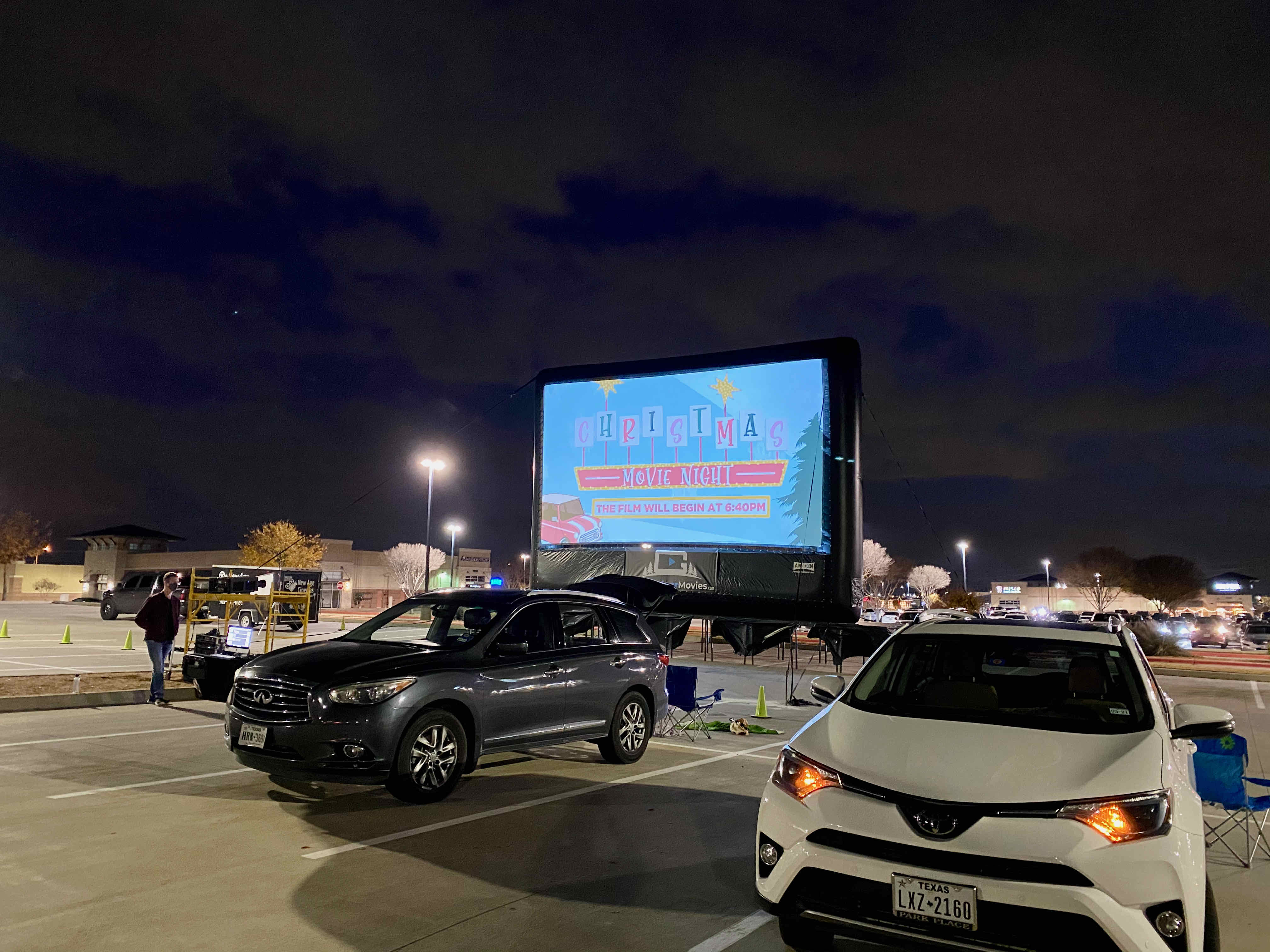 drive in movie screen plano
