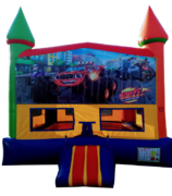 Rainbow Monster Trucks Bouncer