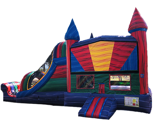 Dry Marble Bounce House With Double Slide